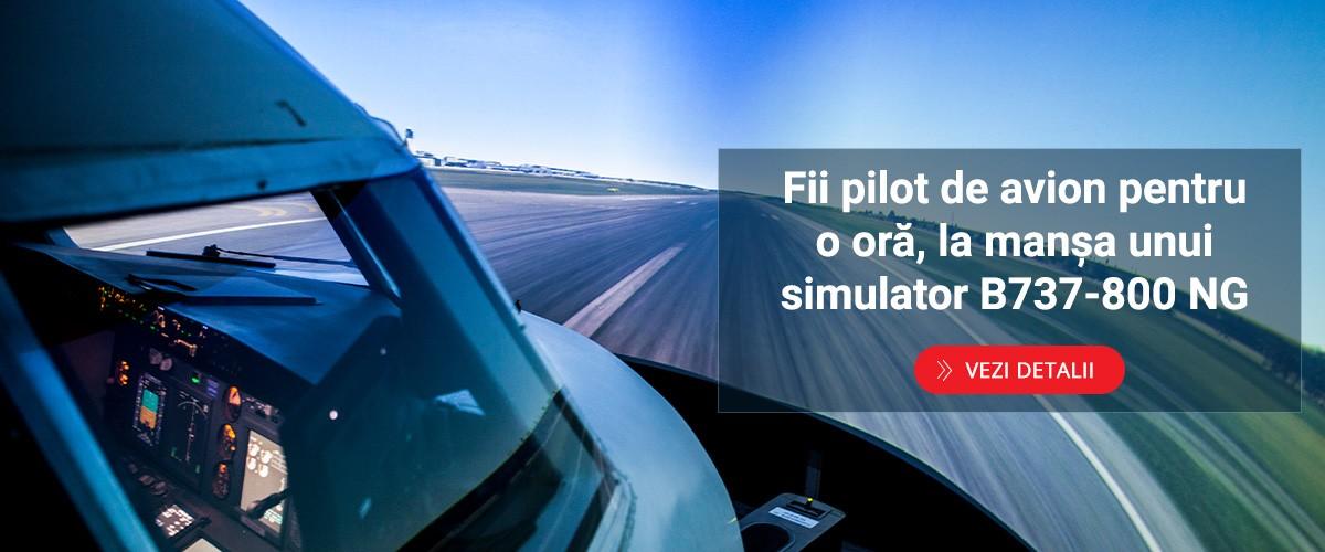 Fii pilot de avion pentru o oră, la manșa unui simulator B737-800 NG